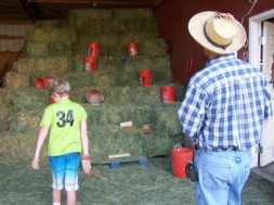 Picture of boy and father tossing bean bags into buckets on hay.