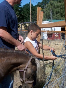Picture of boy learning horseman's safety knot in a session with Trigger.